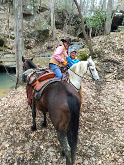 George and Chuck at Seven Springs Trail Ride with Blue & Sam